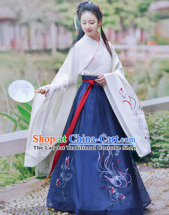 Chinese Ancient Palace Princess Hanfu Dress Traditional Jin Dynasty Court Infanta Historical Costume for Women