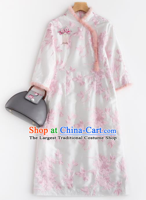 Chinese Traditional National Costume Tang Suit Cheongsam Winter Qipao Dress for Women