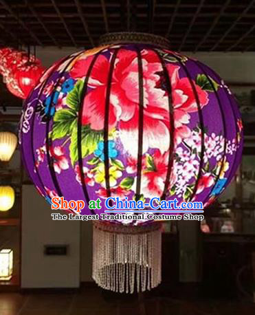 Chinese Traditional Printing Flowers Purple Hanging Lantern Handmade Craft New Year Palace Lanterns