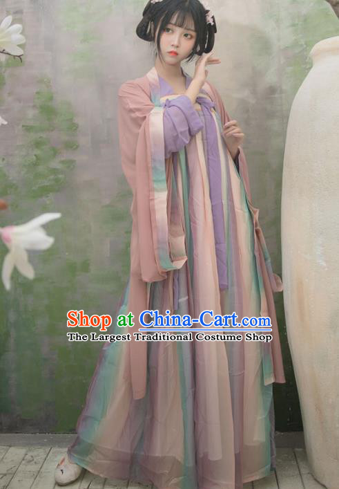 Chinese Ancient Peri Hanfu Dress Tang Dynasty Palace Princess Traditional Historical Costume for Women