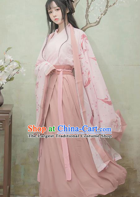 Chinese Ancient Swordswoman Pink Hanfu Dress Jin Dynasty Palace Princess Traditional Historical Costume for Women