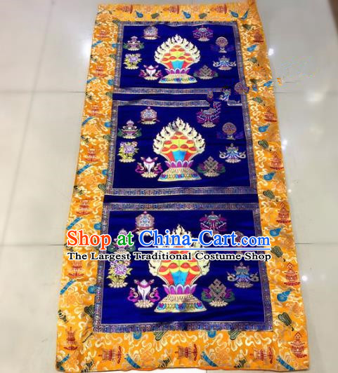 Chinese Traditional Buddhism Royalblue Brocade Decoration Vajrayana Buddhist Altar Table Cloth