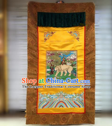 Chinese Traditional Buddhism Golden Brocade Curtain Decoration Vajrayana Buddhist Altar Portiere