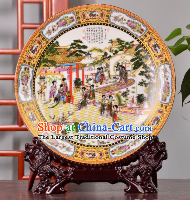 Chinese Traditional Hand Painting Beauty Decoration Enamel Dish Jingdezhen Ceramic Handicraft