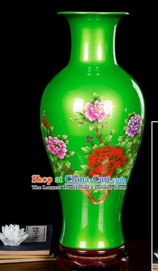 Chinese Jingdezhen Ceramic Craft Printing Peony Pattern Green Enamel Vase Handicraft Traditional Porcelain Vase