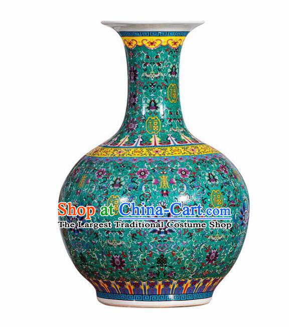 Chinese Jingdezhen Ceramic Craft Colour Enamel Green Vase Handicraft Traditional Porcelain Vase