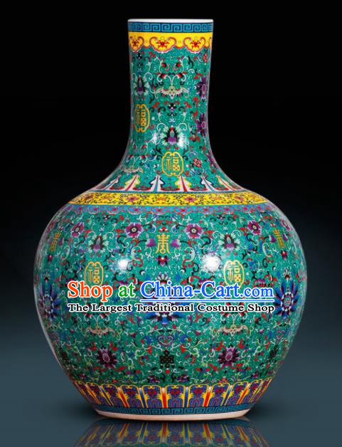 Chinese Jingdezhen Ceramic Craft Colour Enamel Green Ball Vase Handicraft Traditional Porcelain Vase