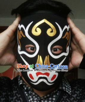 Chinese Traditional Sichuan Opera Prop Face Changing Black Masks Handmade Painting Facial Makeup