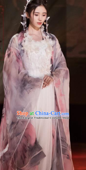 Traditional Chinese Tang Dynasty Princess Hanfu Dress Spring Festival Gala Ancient Peri Replica Costume for Women