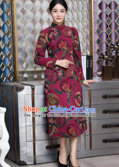 Chinese Traditional Printing Phoenix Wine Red Cheongsam Tang Suit Qipao Dress National Costume for Women