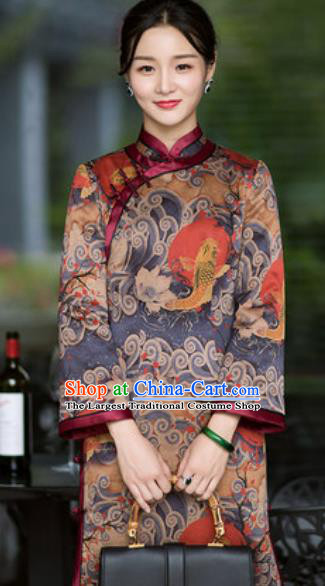 Chinese Traditional Printing Carp Silk Cheongsam Tang Suit Qipao Dress National Costume for Women