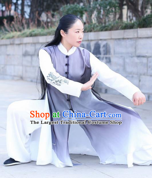 Chinese Traditional Kung Fu Competition Costume Martial Arts Tai Chi Grey Clothing for Women