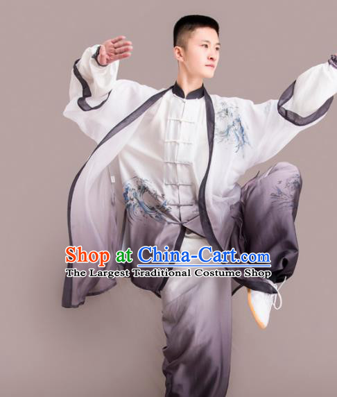 Chinese Traditional Kung Fu Competition Grey Costume Martial Arts Embroidered Clothing for Men