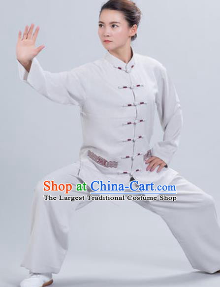 Chinese Traditional Kung Fu Competition Costume Tang Suit Tai Chi Grey Clothing for Women