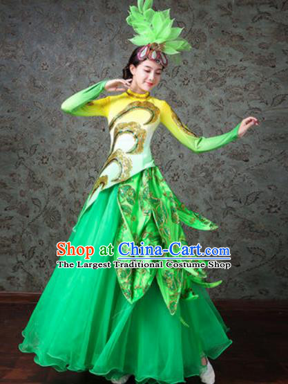 Chinese Traditional Spring Festival Gala Dance Costume Opening Dance Modern Dance Green Dress for Women