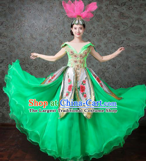 Chinese Traditional Spring Festival Gala Dance Costume Opening Dance Modern Dance Green Bubble Dress for Women