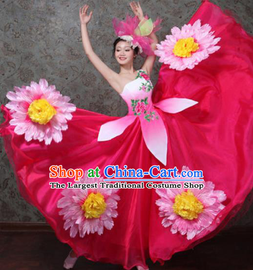 Chinese Traditional Spring Festival Gala Dance Costume Opening Dance Modern Dance Rosy Bubble Dress for Women