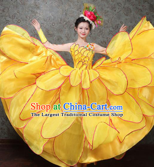 Chinese Traditional Spring Festival Gala Dance Costume Opening Dance Modern Dance Yellow Flower Dress for Women