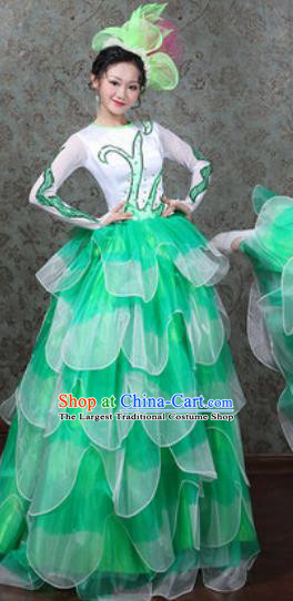 Chinese Traditional Spring Festival Gala Dance Costume Opening Dance Stage Performance Green Dress for Women