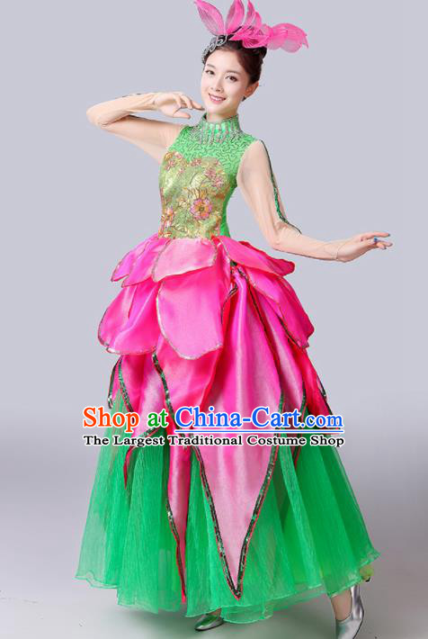 Chinese Traditional Spring Festival Gala Dance Costume Lotus Dance Stage Performance Green Dress for Women