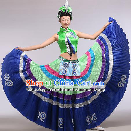 Chinese Traditional Ethnic Dance Costume Yi Nationality Stage Performance Green Dress for Women