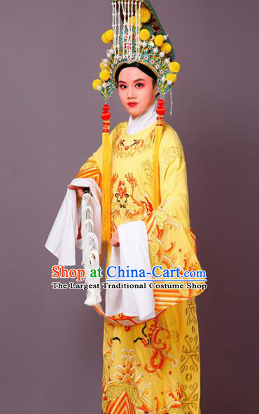 Chinese Traditional Peking Opera Niche Yellow Embroidered Robe Beijing Opera Number One Scholar Costume for Men