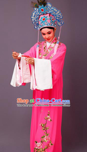 Chinese Traditional Peking Opera Scholar Embroidered Peony Rosy Robe Beijing Opera Niche Costume for Men