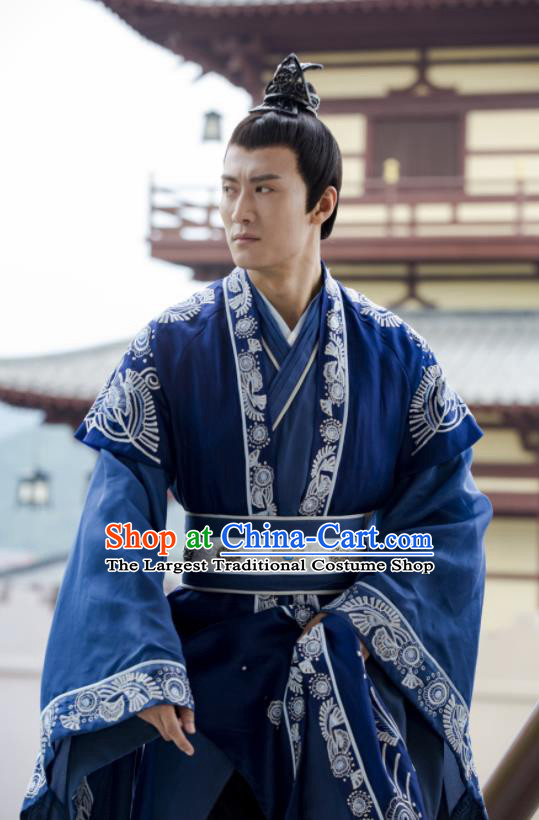 Chinese Drama Queen Dugu Ancient Northern Zhou Dynasty Emperor Yuwen Yong Embroidered Historical Costume for Men