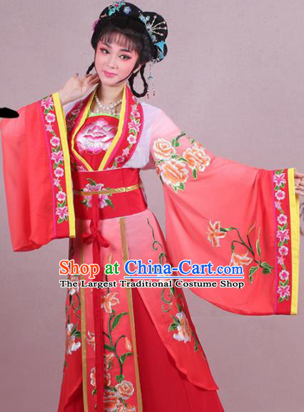 Chinese Traditional Shaoxing Opera Palace Lady Embroidered Red Dress Beijing Opera Princess Costume for Women
