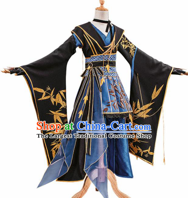 Chinese Traditional Female Knight Black Hanfu Dress Ancient Swordswoman Costume for Women