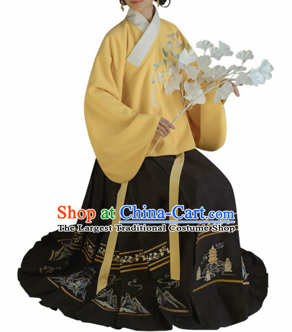 Chinese Traditional Ming Dynasty Yellow Blouse and Black Skirt Ancient Nobility Lady Costume for Women