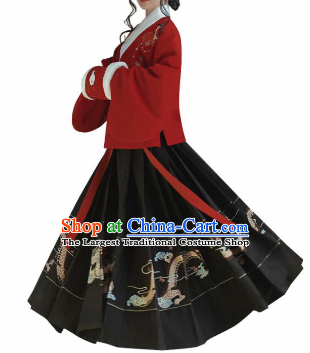 Chinese Traditional Ming Dynasty Red Blouse and Black Skirt Ancient Nobility Lady Costume for Women