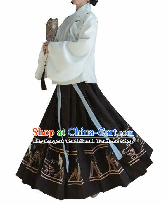 Chinese Traditional Ming Dynasty White Blouse and Black Skirt Ancient Nobility Lady Costume for Women