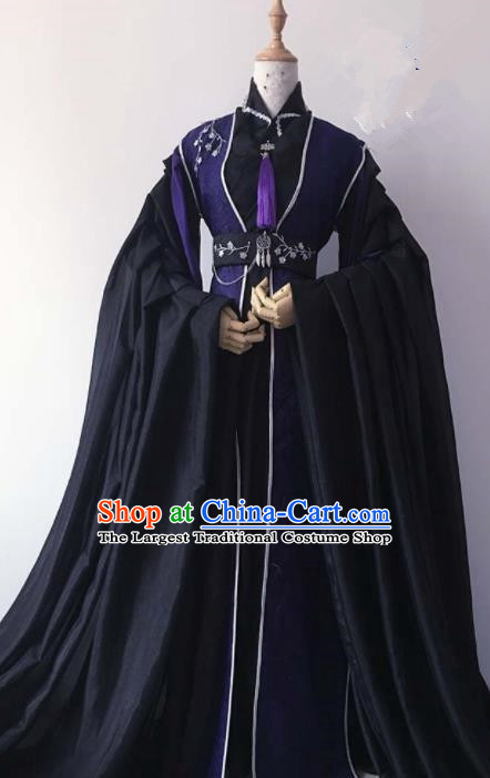 Chinese Traditional Cosplay Emperor Black Costume Ancient Swordsman Hanfu Clothing for Men