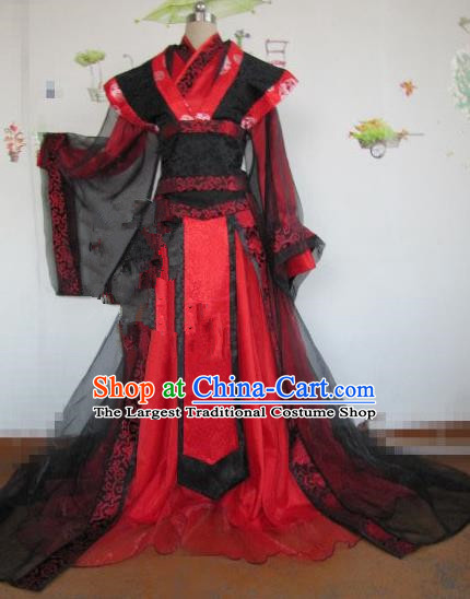 Chinese Traditional Cosplay Royal Highness Costume Ancient Swordsman Red Hanfu Clothing for Men