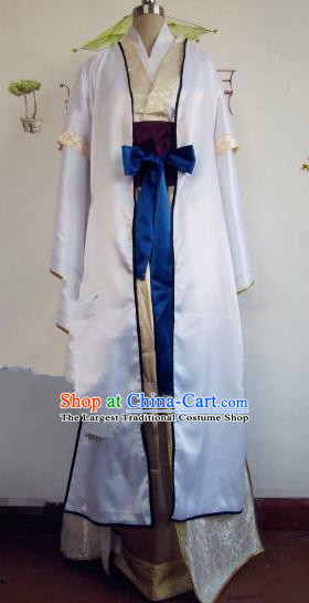Chinese Traditional Cosplay Assassin Costume Ancient Swordsman White Hanfu Clothing for Men