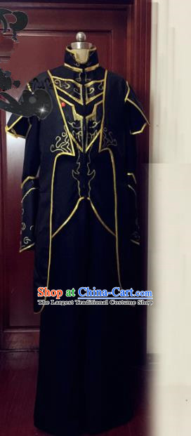 Chinese Traditional Cosplay Warrior Costume Ancient Swordsman Black Hanfu Clothing for Men