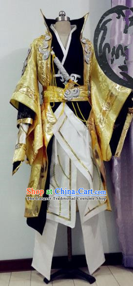 Chinese Traditional Cosplay Royal Highness Golden Costume Ancient Swordsman Hanfu Clothing for Men