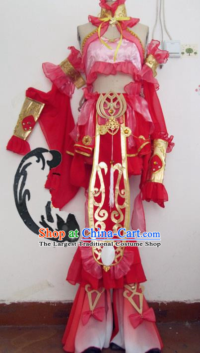 Chinese Traditional Cosplay Fairy Costume Ancient Peri Swordswoman Rosy Hanfu Dress for Women