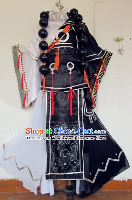 Chinese Traditional Cosplay Monk Black Costume Ancient Swordsman Hanfu Clothing for Men