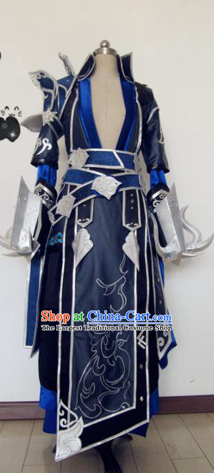 Chinese Traditional Cosplay Knight Navy Armour Costume Ancient Swordsman Hanfu Clothing for Men