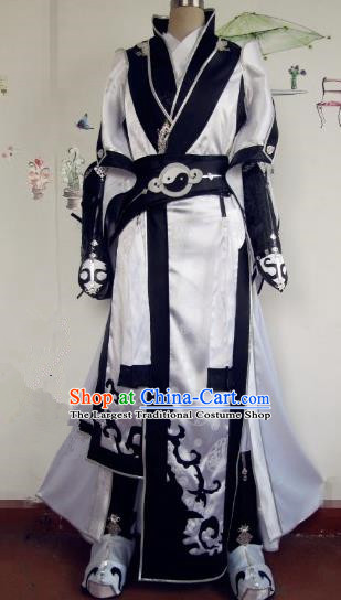 Chinese Traditional Cosplay Taoist Priest Costume Ancient Swordsman Hanfu Clothing for Men