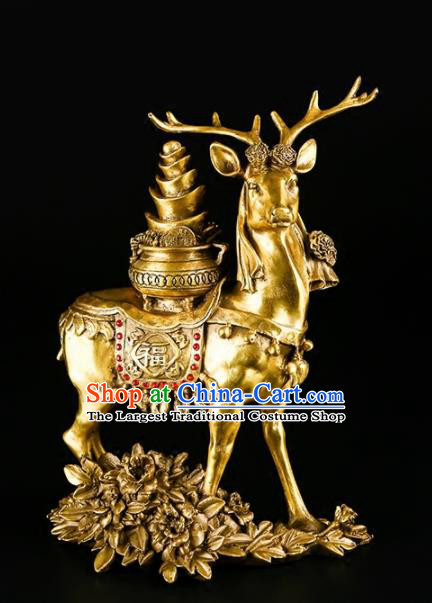 Chinese Traditional Feng Shui Calabash Items Taoism Bagua Brass Deer Decoration