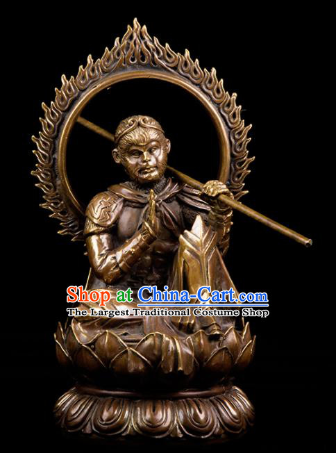 Chinese Traditional Feng Shui Items Taoism Bagua Brass Handsome Monkey King Decoration