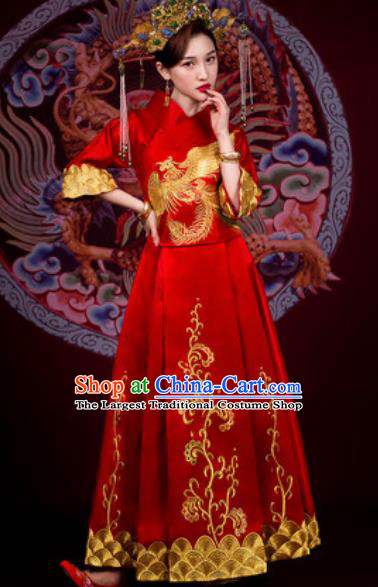 Traditional Chinese Embroidered Phoenix Wedding Dress Ancient Bride Red Xiu He Costume for Women