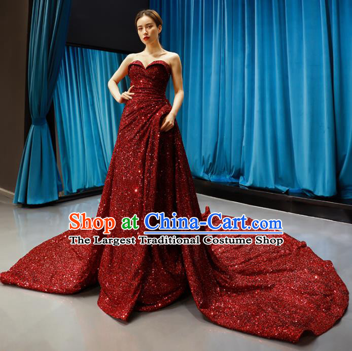 Top Grade Compere Strapless Full Dress Princess Red Paillette Trailing Wedding Dress Costume for Women