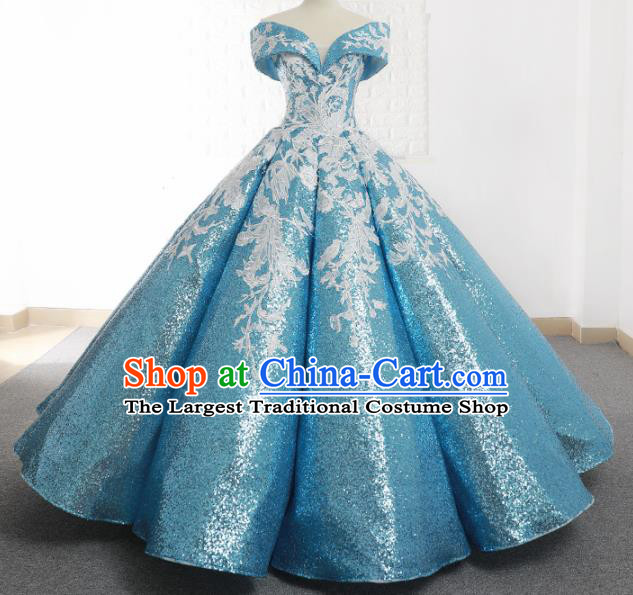 Top Grade Compere Light Blue Paillette Full Dress Princess Embroidered Bubble Wedding Dress Costume for Women