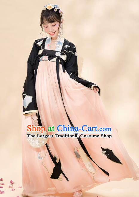 Chinese Traditional Hanfu Dress Ancient Tang Dynasty Nobility Lady Embroidered Costume for Women