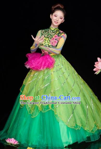 Chinese Traditional Spring Festival Gala Opening Dance Costume Modern Dance Green Veil Dress for Women