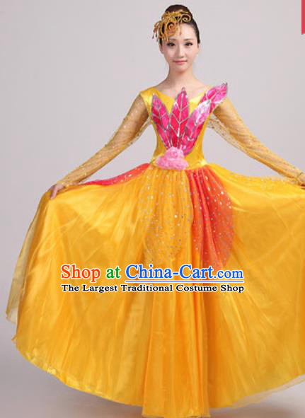 Chinese Traditional Spring Festival Gala Opening Dance Yellow Veil Dress Modern Dance Costume for Women